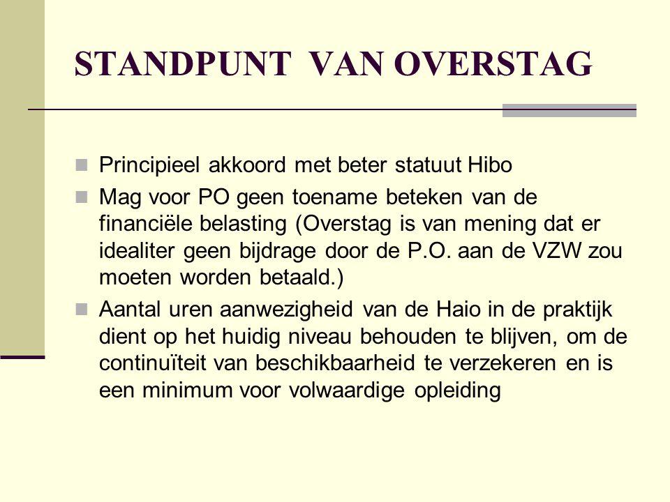 STANDPUNT VAN OVERSTAG  Principieel akkoord met beter statuut Hibo  Mag voor PO geen toename beteken van de financiële belasting (Overstag is van mening dat er idealiter geen bijdrage door de P.O.