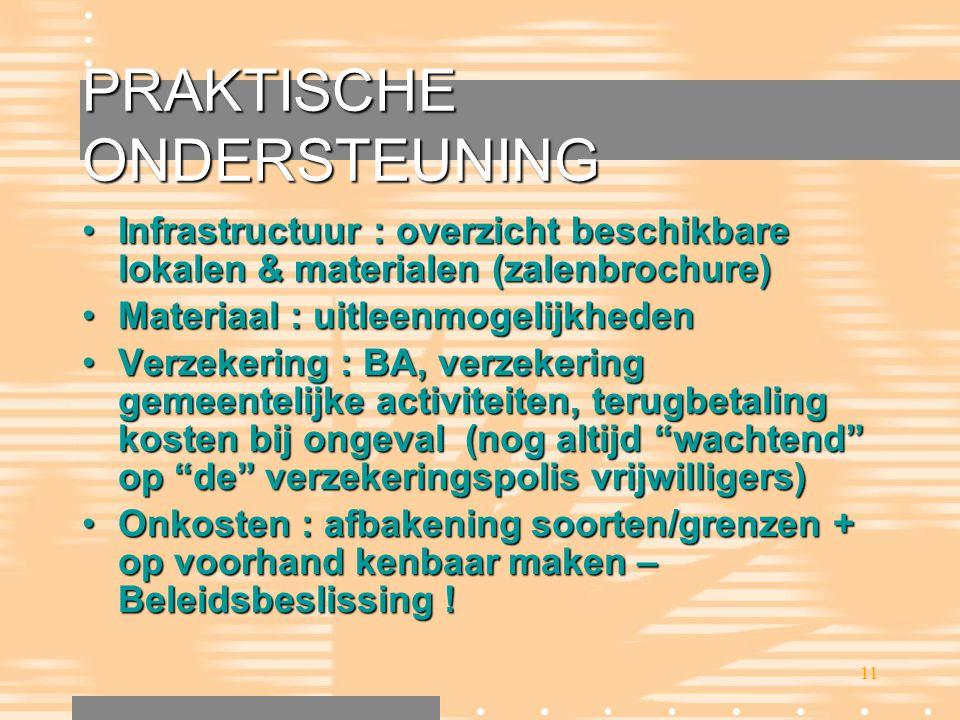 11 PRAKTISCHE ONDERSTEUNING •Infrastructuur : overzicht beschikbare lokalen & materialen (zalenbrochure) •Materiaal : uitleenmogelijkheden •Verzekerin