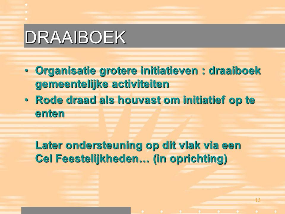 13 DRAAIBOEK •Organisatie grotere initiatieven : draaiboek gemeentelijke activiteiten •Rode draad als houvast om initiatief op te enten Later onderste