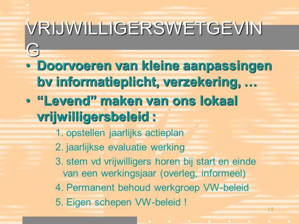 """15 VRIJWILLIGERSWETGEVIN G •Doorvoeren van kleine aanpassingen bv informatieplicht, verzekering, … •""""Levend"""" maken van ons lokaal vrijwilligersbeleid"""