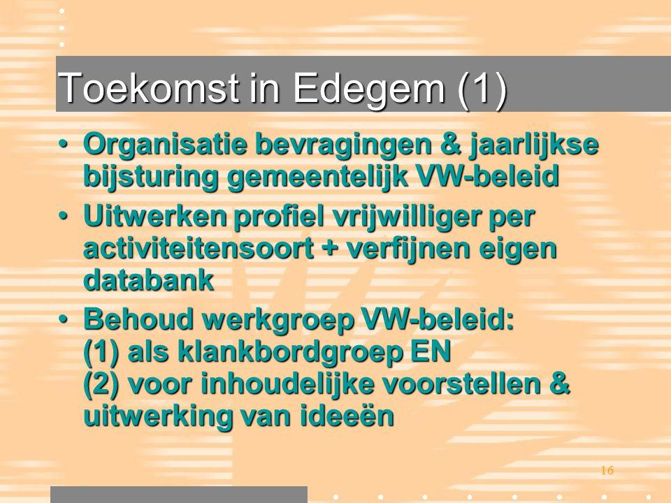 16 Toekomst in Edegem (1) •Organisatie bevragingen & jaarlijkse bijsturing gemeentelijk VW-beleid •Uitwerken profiel vrijwilliger per activiteitensoor