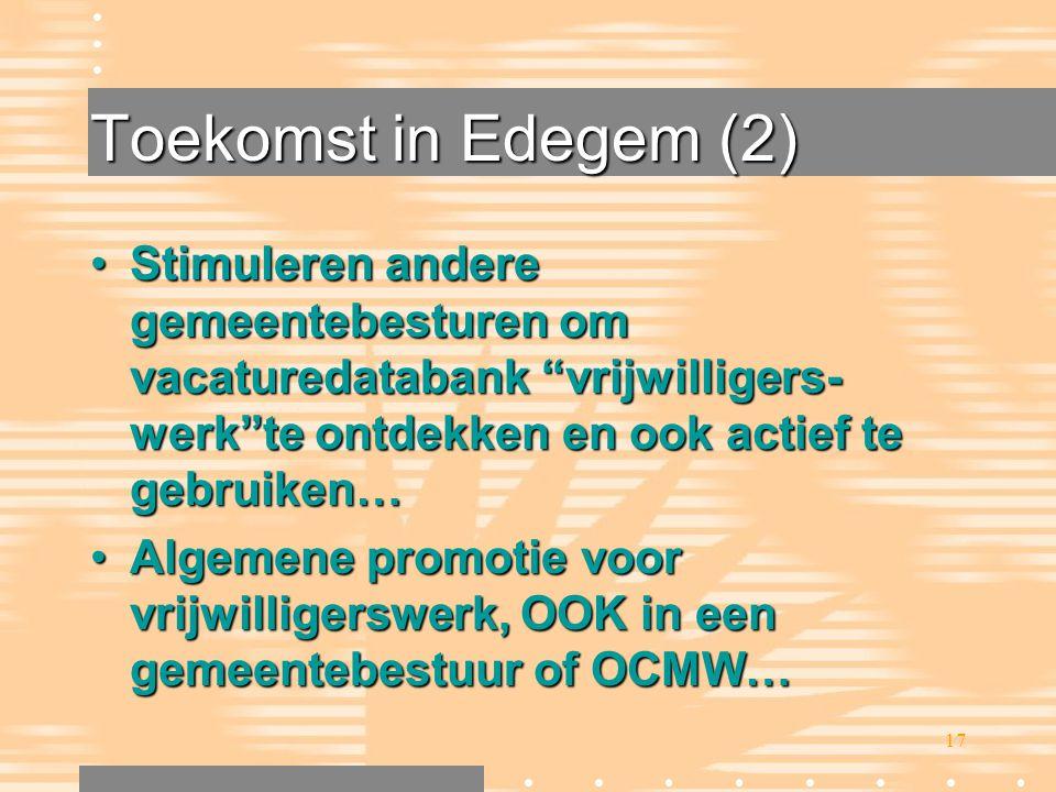 """17 Toekomst in Edegem (2) •Stimuleren andere gemeentebesturen om vacaturedatabank """"vrijwilligers- werk""""te ontdekken en ook actief te gebruiken… •Algem"""