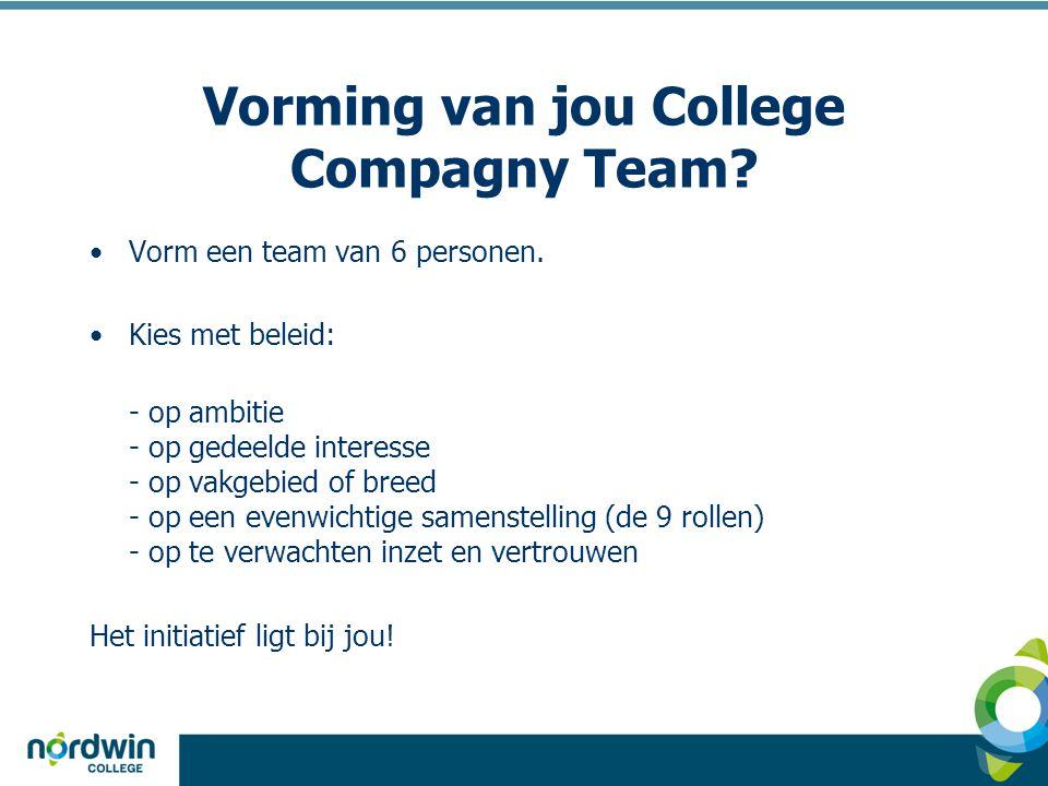 Vorming van jou College Compagny Team? •Vorm een team van 6 personen. •Kies met beleid: - op ambitie - op gedeelde interesse - op vakgebied of breed -