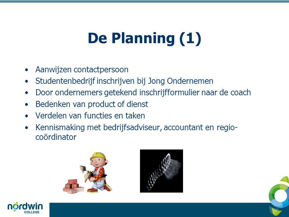 De Planning (1) •Aanwijzen contactpersoon •Studentenbedrijf inschrijven bij Jong Ondernemen •Door ondernemers getekend inschrijfformulier naar de coac