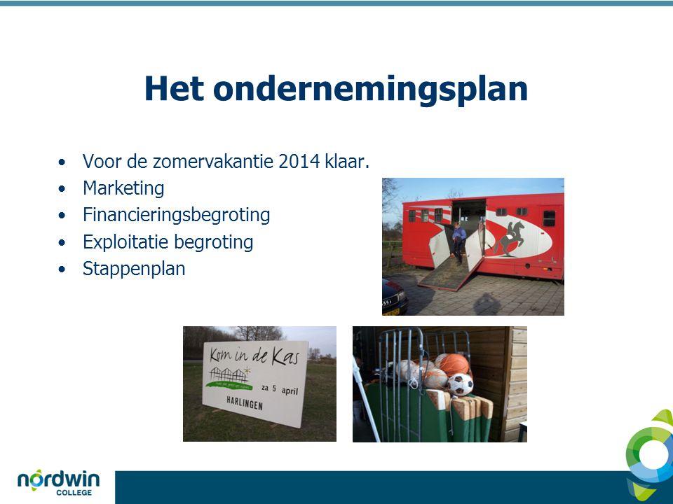 Het ondernemingsplan •Voor de zomervakantie 2014 klaar. •Marketing •Financieringsbegroting •Exploitatie begroting •Stappenplan