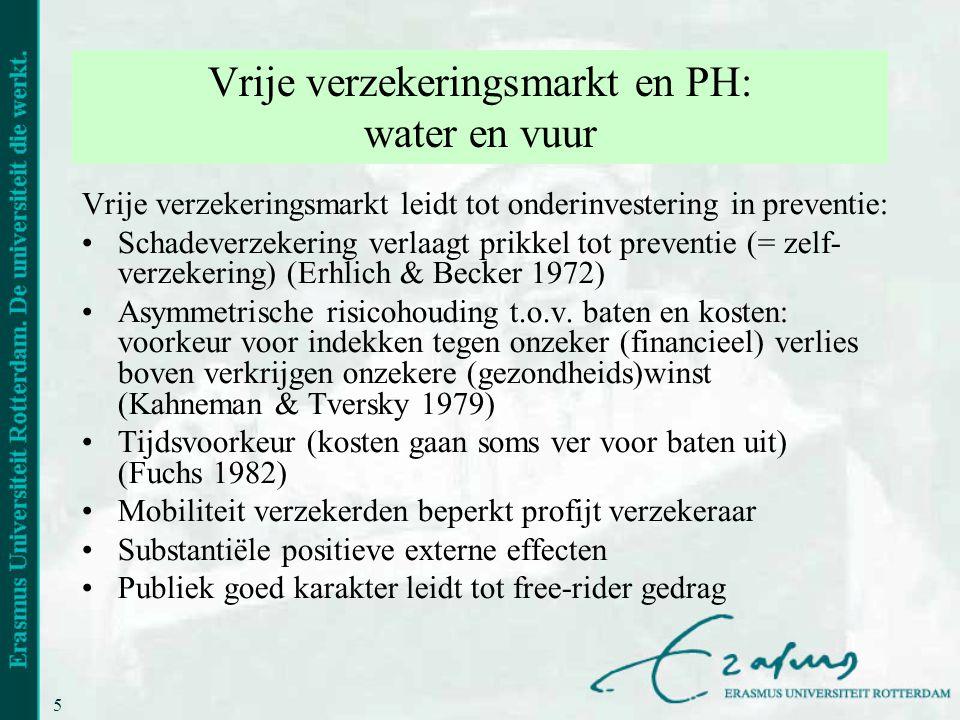 5 Vrije verzekeringsmarkt en PH: water en vuur Vrije verzekeringsmarkt leidt tot onderinvestering in preventie: •Schadeverzekering verlaagt prikkel to