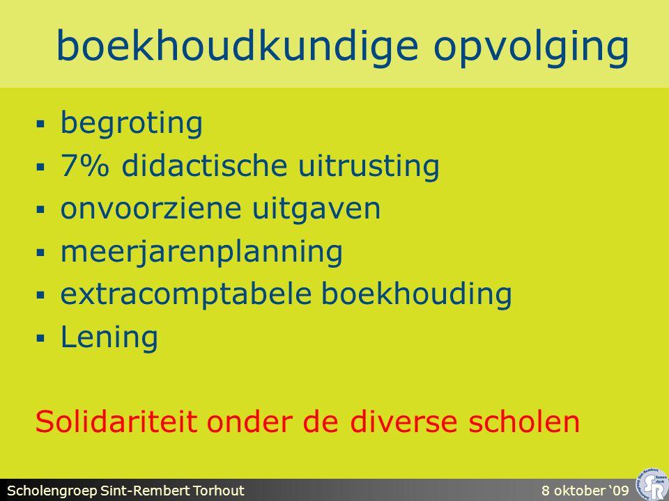 Scholengroep Sint-Rembert Torhout8 oktober '09 boekhoudkundige opvolging  begroting  7% didactische uitrusting  onvoorziene uitgaven  meerjarenplanning  extracomptabele boekhouding  Lening Solidariteit onder de diverse scholen
