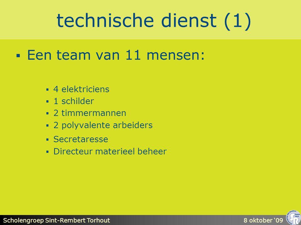 Scholengroep Sint-Rembert Torhout8 oktober '09 technische dienst (1)  Een team van 11 mensen:  4 elektriciens  1 schilder  2 timmermannen  2 polyvalente arbeiders  Secretaresse  Directeur materieel beheer