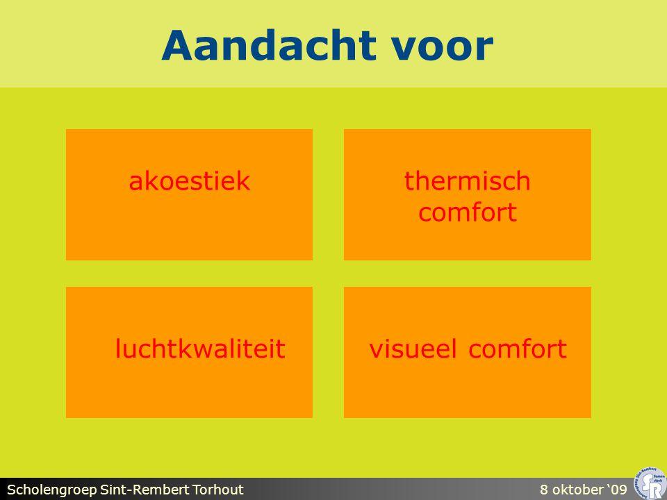 Scholengroep Sint-Rembert Torhout8 oktober '09 Aandacht voor akoestiek visueel comfort thermisch comfort luchtkwaliteit