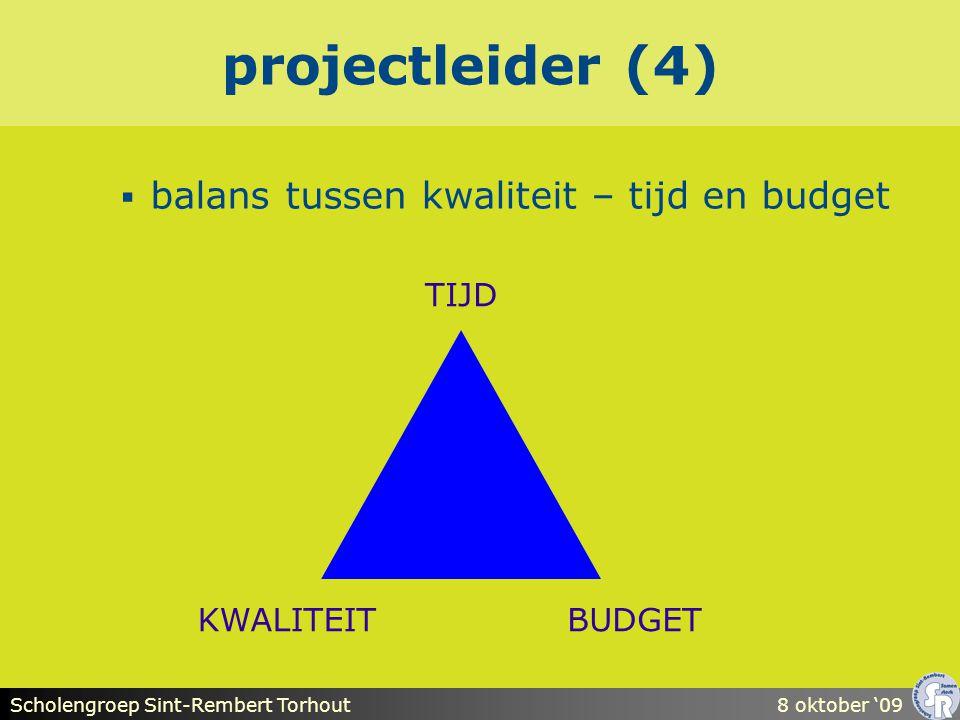 Scholengroep Sint-Rembert Torhout8 oktober '09 projectleider (4)  balans tussen kwaliteit – tijd en budget TIJD KWALITEITBUDGET