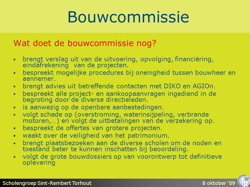 Scholengroep Sint-Rembert Torhout8 oktober '09 Bouwcommissie  Jaarlijks budget  De bouwcommissie gaat op zoek naar de meest geschikte methode om deze middelen zo goed als mogelijk aan te wenden.