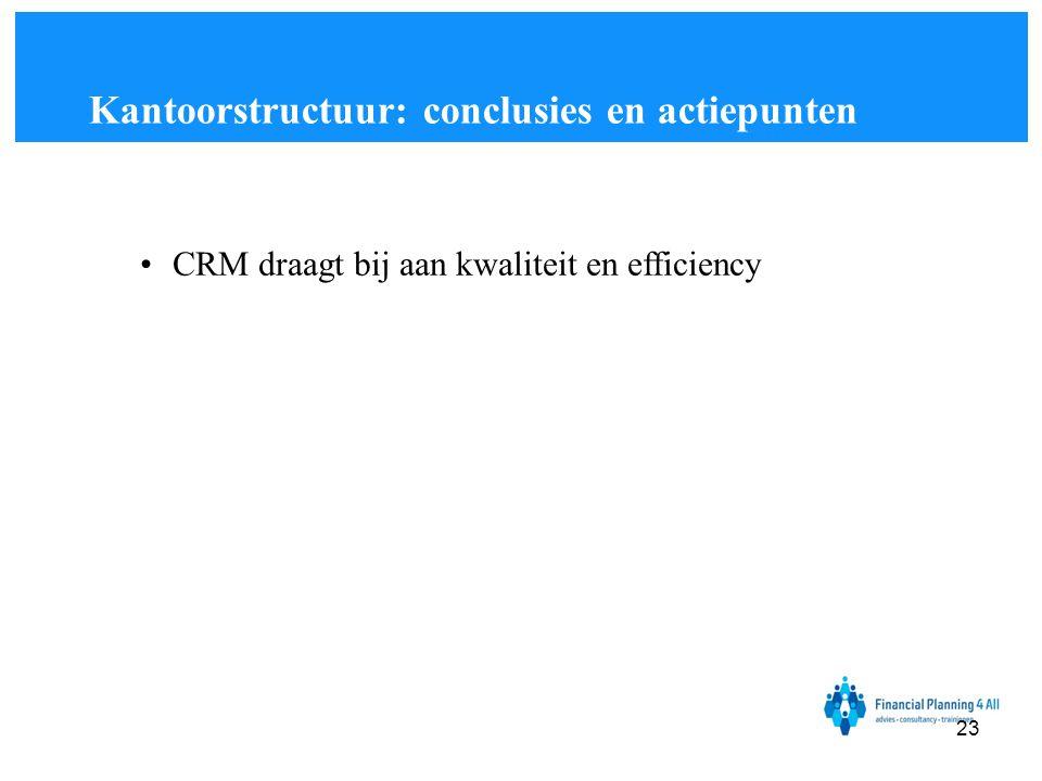 •CRM draagt bij aan kwaliteit en efficiency Kantoorstructuur: conclusies en actiepunten 23