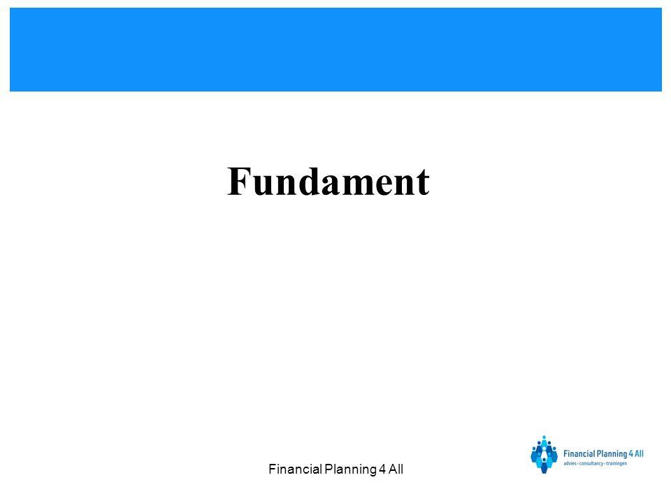 Financial Planning 4 All • Financieel inzicht en overzicht •Samenleven en gezin •Belastingen en fiscaal •Woning, huren of hypotheek •Sparen en beleggen •Pensioen en oudedag •Inkomensrisico's verzekerd •Bezittingen verzekerd •Gezondheid verzekerd Service & dienstverlening Financieel Totaal Advies Bemid deling Nazorg