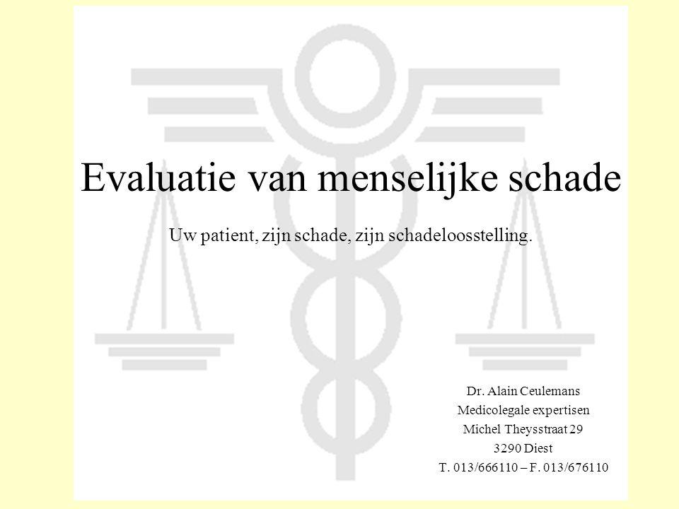 Evaluatie van menselijke schade Uw patient, zijn schade, zijn schadeloosstelling. Dr. Alain Ceulemans Medicolegale expertisen Michel Theysstraat 29 32