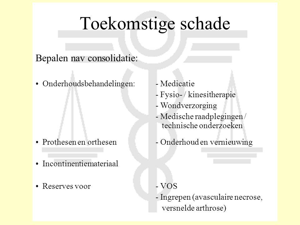Toekomstige schade Bepalen nav consolidatie: • Onderhoudsbehandelingen:- Medicatie - Fysio- / kinesitherapie - Wondverzorging - Medische raadplegingen