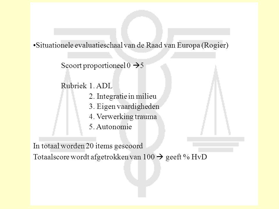 •Situationele evaluatieschaal van de Raad van Europa (Rogier) Scoort proportioneel 0  5 Rubriek1. ADL 2. Integratie in milieu 3. Eigen vaardigheden 4