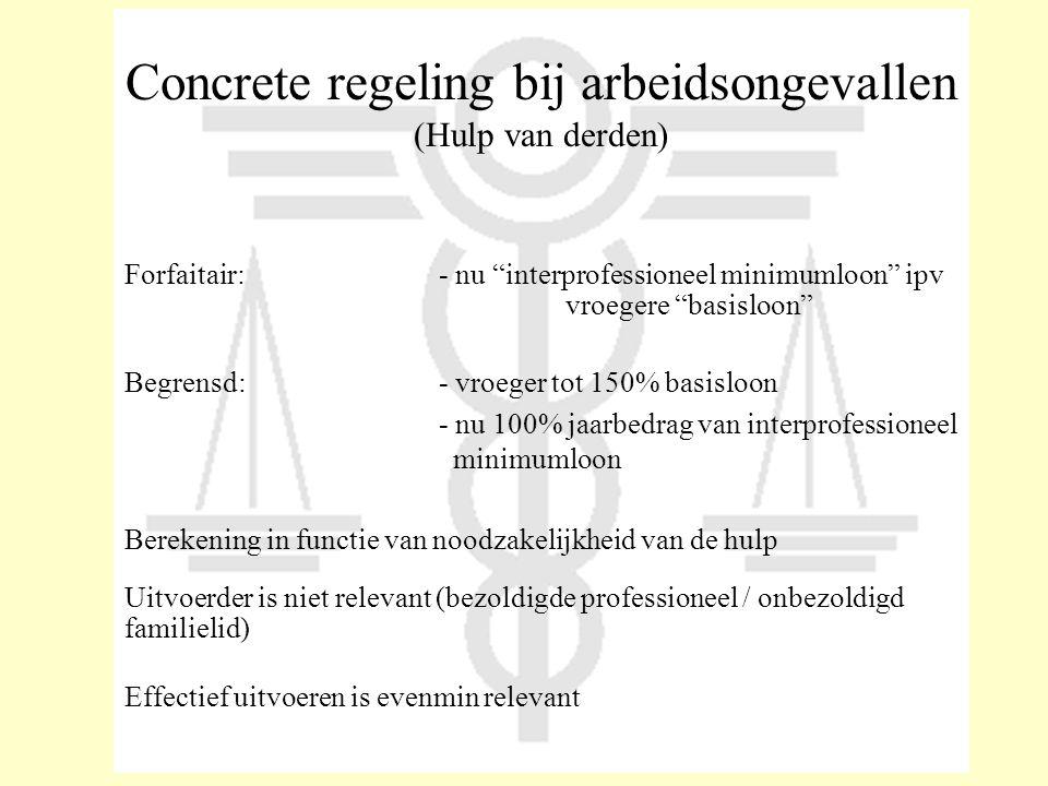 "Concrete regeling bij arbeidsongevallen (Hulp van derden) Forfaitair:- nu ""interprofessioneel minimumloon"" ipv vroegere ""basisloon"" Begrensd:- vroeger"