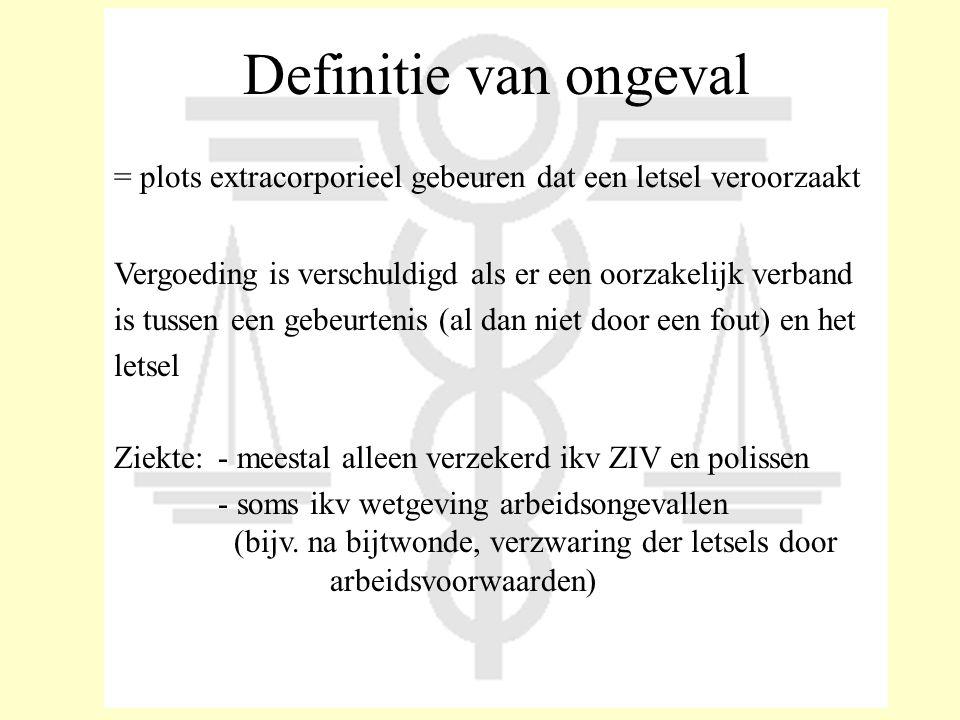 Definitie van ongeval = plots extracorporieel gebeuren dat een letsel veroorzaakt Vergoeding is verschuldigd als er een oorzakelijk verband is tussen