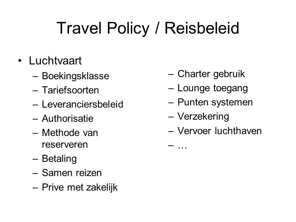 Travel Policy / Reisbeleid •Luchtvaart –Boekingsklasse –Tariefsoorten –Leveranciersbeleid –Authorisatie –Methode van reserveren –Betaling –Samen reize