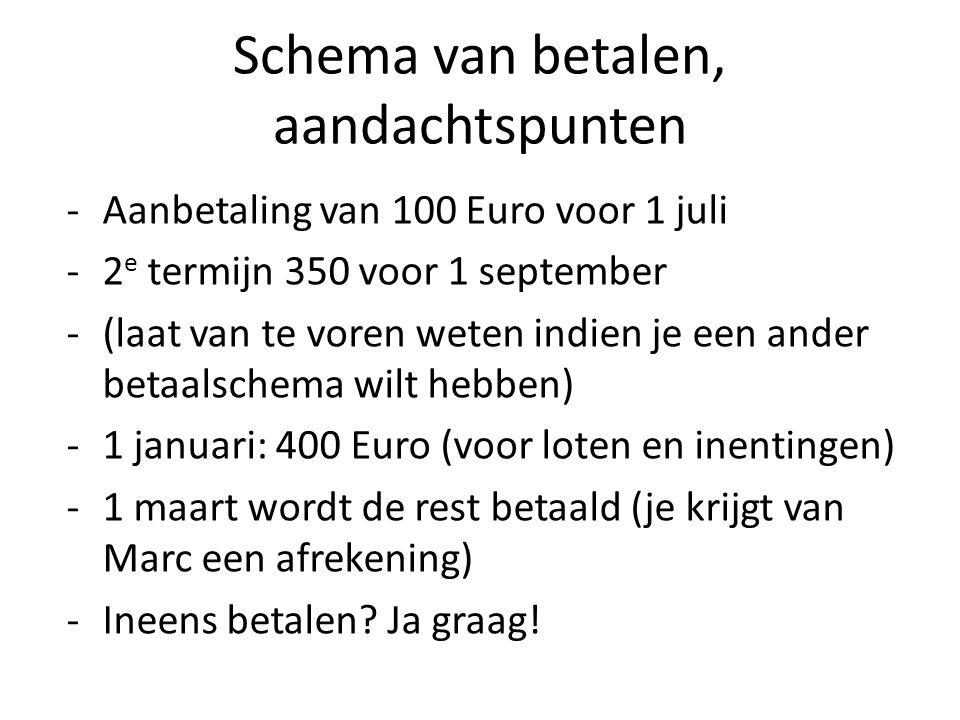 Schema van betalen, aandachtspunten -Aanbetaling van 100 Euro voor 1 juli -2 e termijn 350 voor 1 september -(laat van te voren weten indien je een ander betaalschema wilt hebben) -1 januari: 400 Euro (voor loten en inentingen) -1 maart wordt de rest betaald (je krijgt van Marc een afrekening) -Ineens betalen.