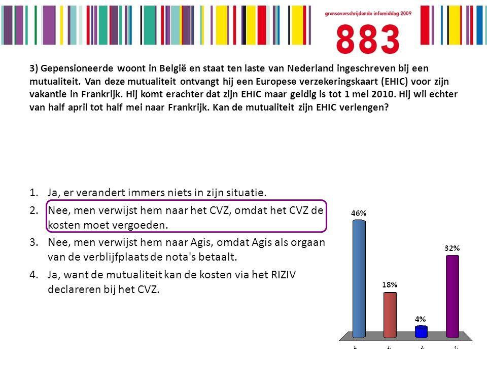 3) Gepensioneerde woont in België en staat ten laste van Nederland ingeschreven bij een mutualiteit.