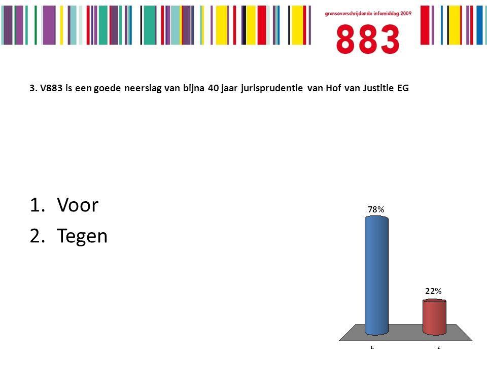 3. V883 is een goede neerslag van bijna 40 jaar jurisprudentie van Hof van Justitie EG 1.Voor 2.Tegen