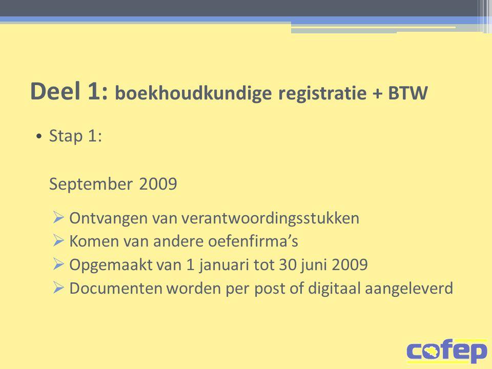 Deel 1: boekhoudkundige registratie + BTW • Stap 1: September 2009  Ontvangen van verantwoordingsstukken  Komen van andere oefenfirma's  Opgemaakt van 1 januari tot 30 juni 2009  Documenten worden per post of digitaal aangeleverd