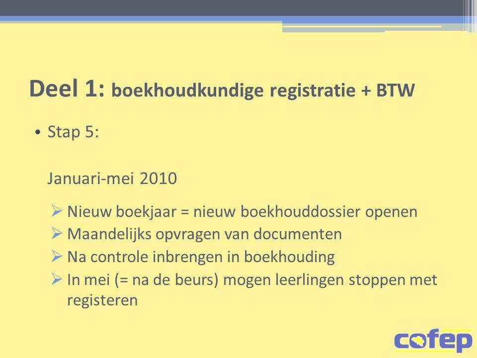 Deel 1: boekhoudkundige registratie + BTW • Stap 5: Januari-mei 2010  Nieuw boekjaar = nieuw boekhouddossier openen  Maandelijks opvragen van docume