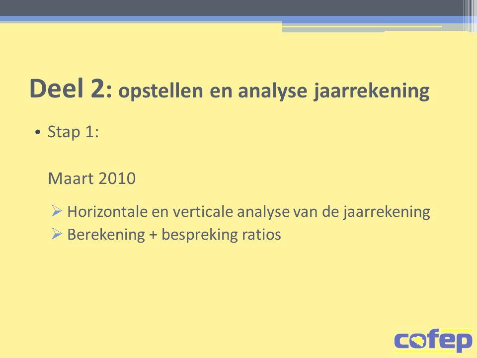 Deel 2 : opstellen en analyse jaarrekening • Stap 1: Maart 2010  Horizontale en verticale analyse van de jaarrekening  Berekening + bespreking ratios
