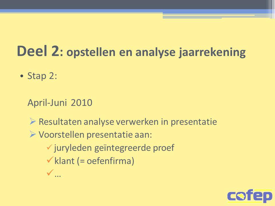 Deel 2 : opstellen en analyse jaarrekening • Stap 2: April-Juni 2010  Resultaten analyse verwerken in presentatie  Voorstellen presentatie aan:  juryleden geïntegreerde proef  klant (= oefenfirma)  …