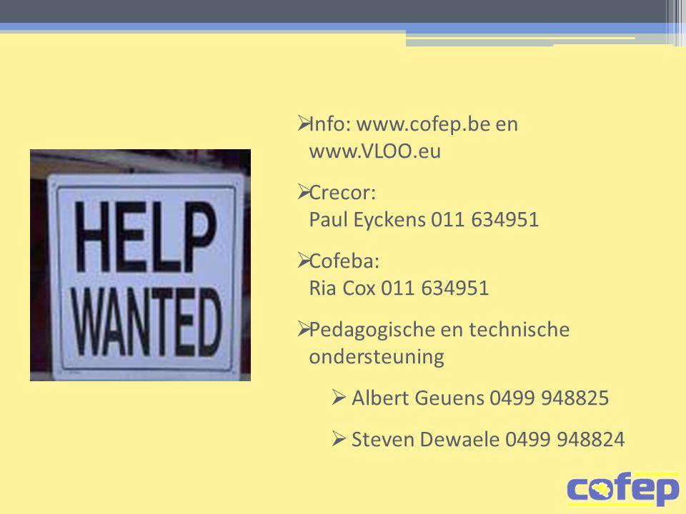  Info: www.cofep.be en www.VLOO.eu  Crecor: Paul Eyckens 011 634951  Cofeba: Ria Cox 011 634951  Pedagogische en technische ondersteuning  Albert Geuens 0499 948825  Steven Dewaele 0499 948824