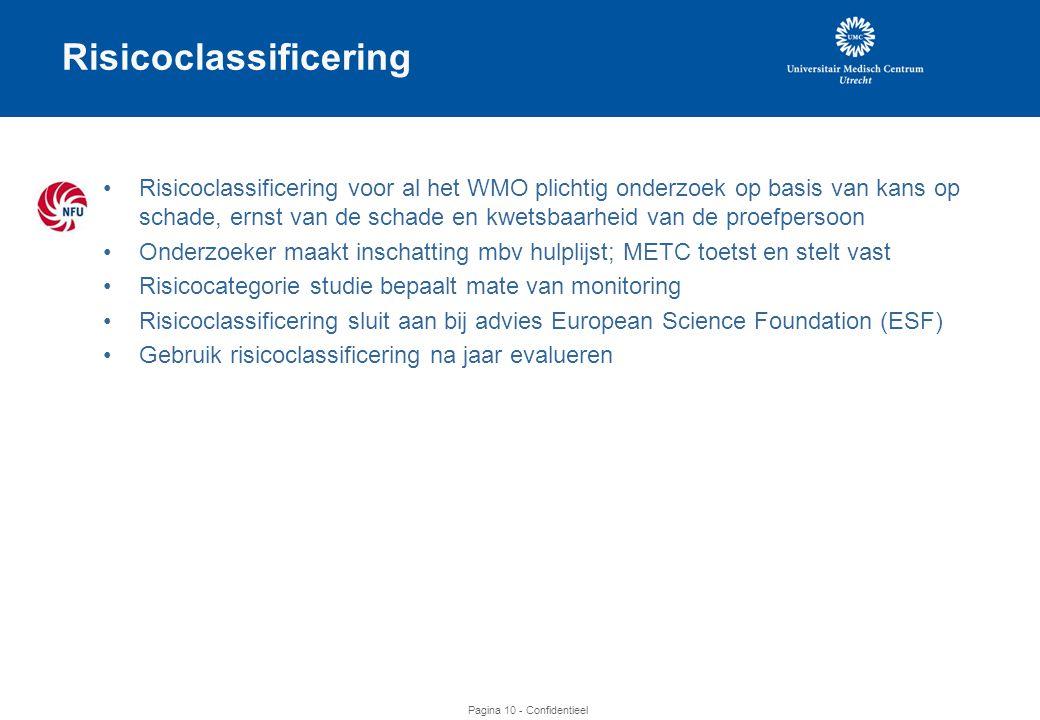 Pagina 10 - Confidentieel Risicoclassificering •Risicoclassificering voor al het WMO plichtig onderzoek op basis van kans op schade, ernst van de schade en kwetsbaarheid van de proefpersoon •Onderzoeker maakt inschatting mbv hulplijst; METC toetst en stelt vast •Risicocategorie studie bepaalt mate van monitoring •Risicoclassificering sluit aan bij advies European Science Foundation (ESF) •Gebruik risicoclassificering na jaar evalueren
