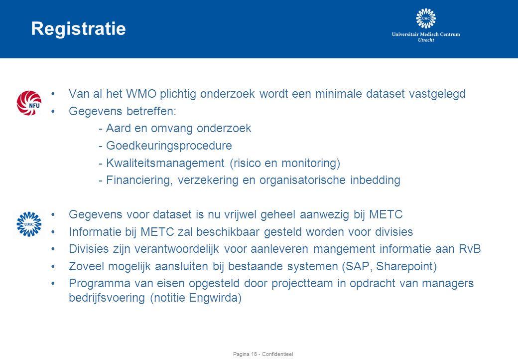 Pagina 18 - Confidentieel Registratie •Van al het WMO plichtig onderzoek wordt een minimale dataset vastgelegd •Gegevens betreffen: - Aard en omvang onderzoek - Goedkeuringsprocedure - Kwaliteitsmanagement (risico en monitoring) - Financiering, verzekering en organisatorische inbedding •Gegevens voor dataset is nu vrijwel geheel aanwezig bij METC •Informatie bij METC zal beschikbaar gesteld worden voor divisies •Divisies zijn verantwoordelijk voor aanleveren mangement informatie aan RvB •Zoveel mogelijk aansluiten bij bestaande systemen (SAP, Sharepoint) •Programma van eisen opgesteld door projectteam in opdracht van managers bedrijfsvoering (notitie Engwirda)