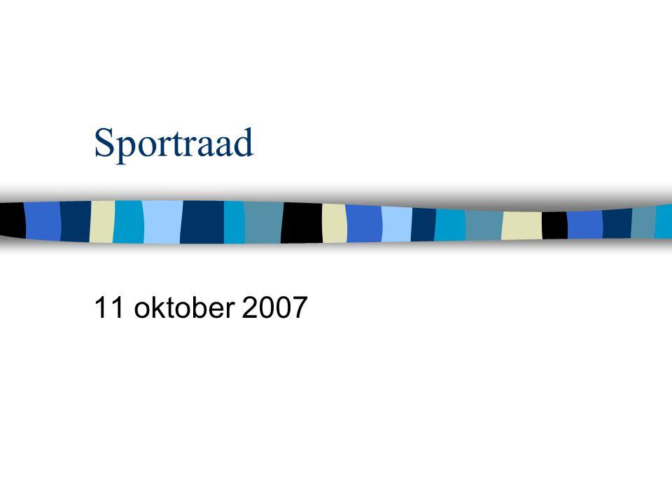 Sportraad 11 oktober 2007