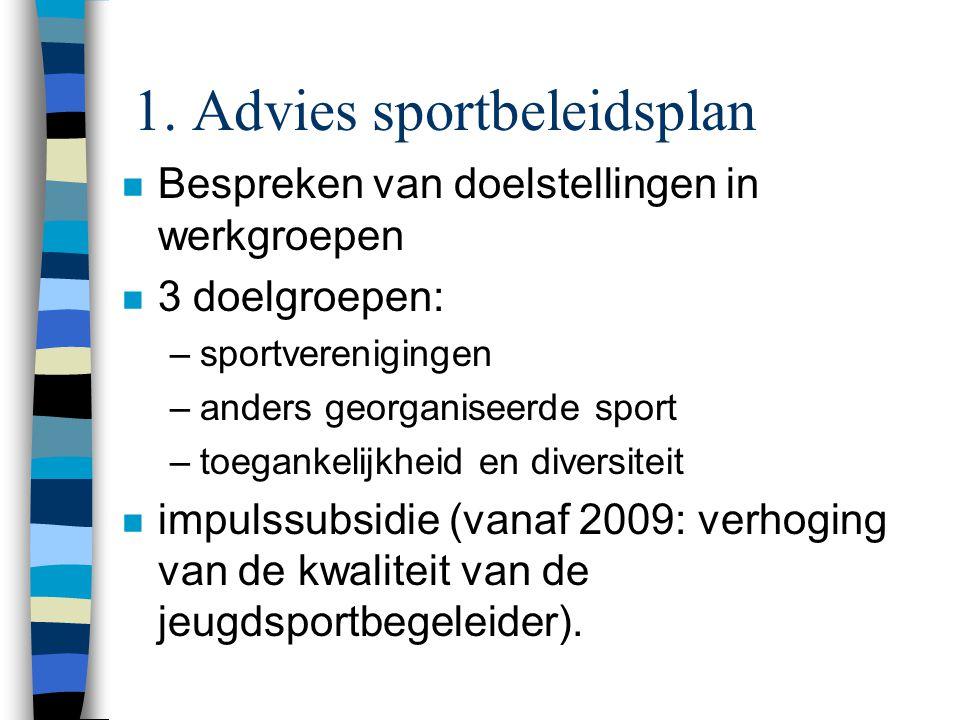 1. Advies sportbeleidsplan n Bespreken van doelstellingen in werkgroepen n 3 doelgroepen: –sportverenigingen –anders georganiseerde sport –toegankelij