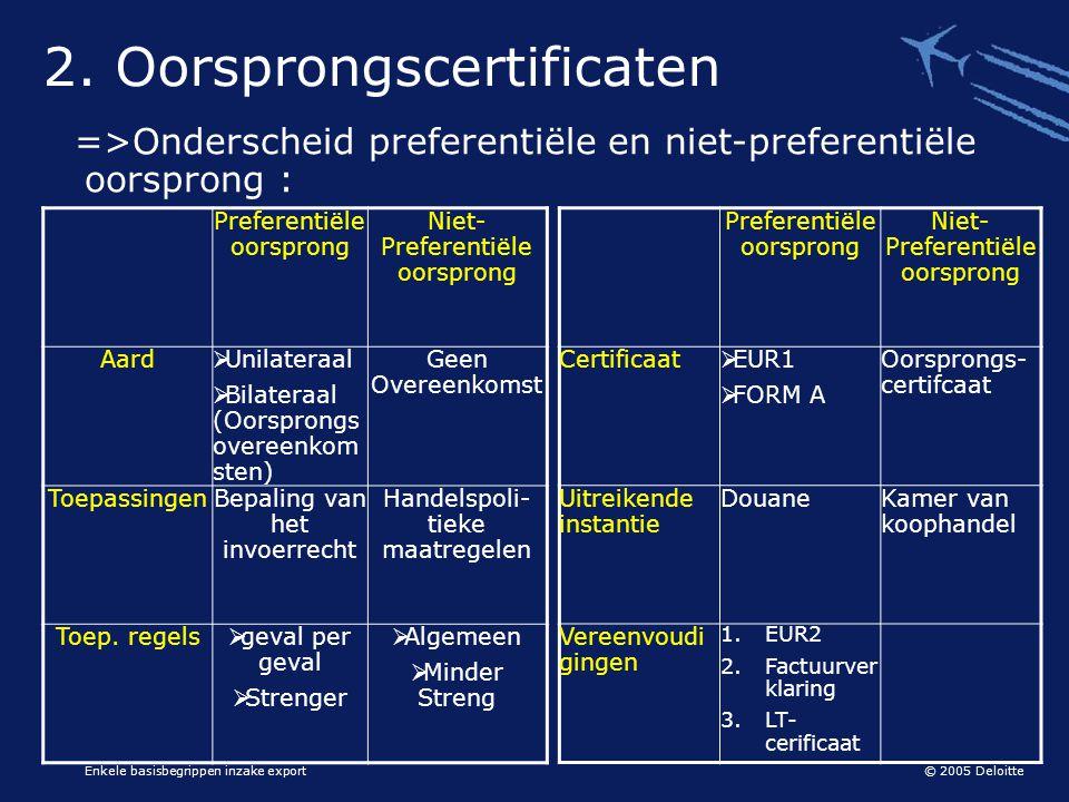 © 2005 Deloitte Enkele basisbegrippen inzake export =>Onderscheid preferentiële en niet-preferentiële oorsprong : 2. Oorsprongscertificaten Preferenti