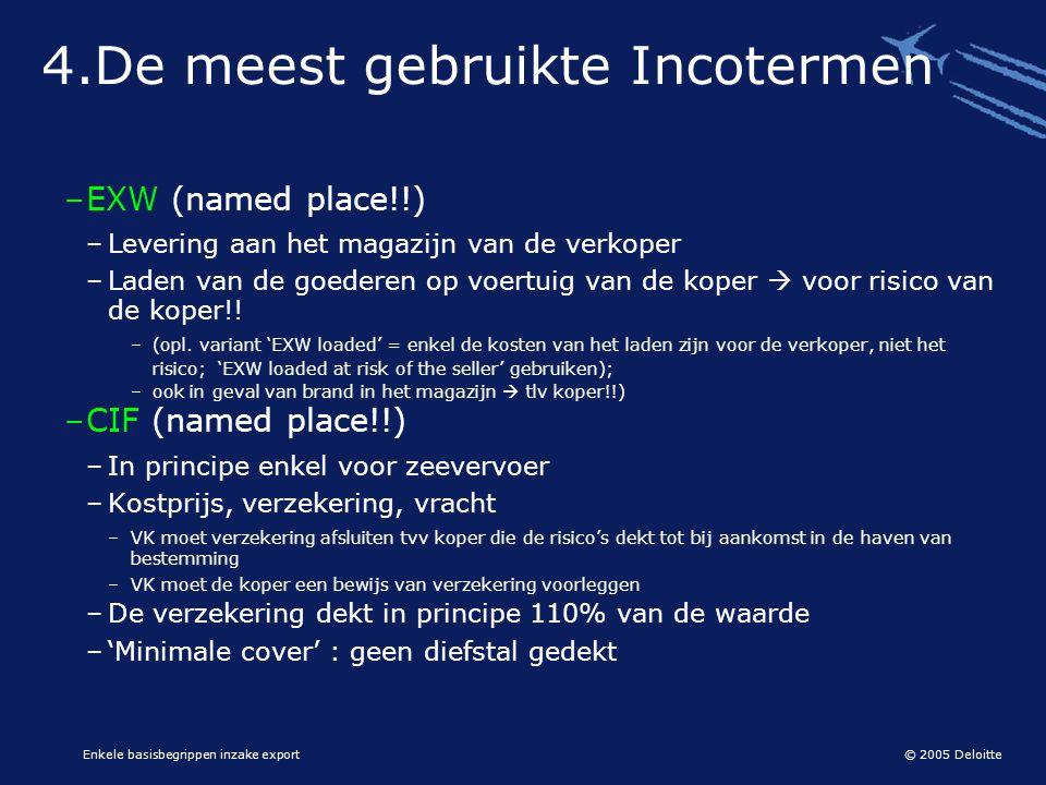 © 2005 Deloitte Enkele basisbegrippen inzake export 4.De meest gebruikte Incotermen –EXW (named place!!) –Levering aan het magazijn van de verkoper –L