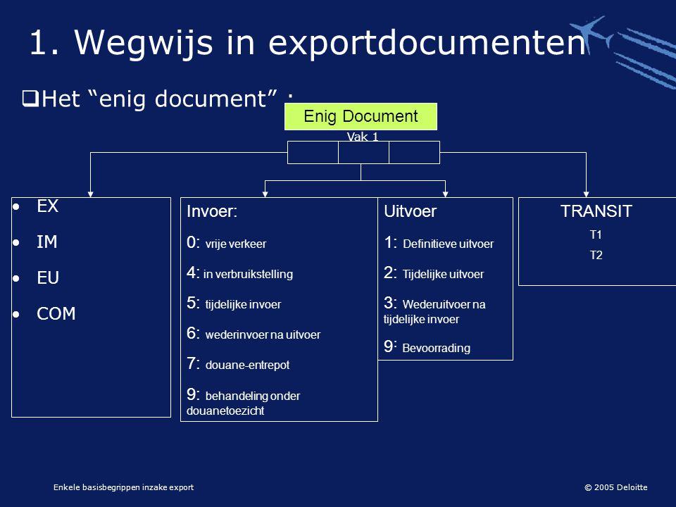"""© 2005 Deloitte Enkele basisbegrippen inzake export  Het """"enig document"""" : 1. Wegwijs in exportdocumenten Enig Document Invoer: 0: vrije verkeer 4: i"""