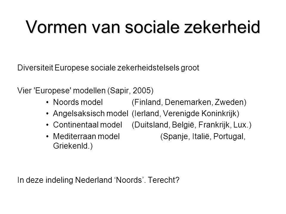 Vormen van sociale zekerheid Diversiteit Europese sociale zekerheidstelsels groot Vier 'Europese' modellen (Sapir, 2005) •Noords model(Finland, Denema
