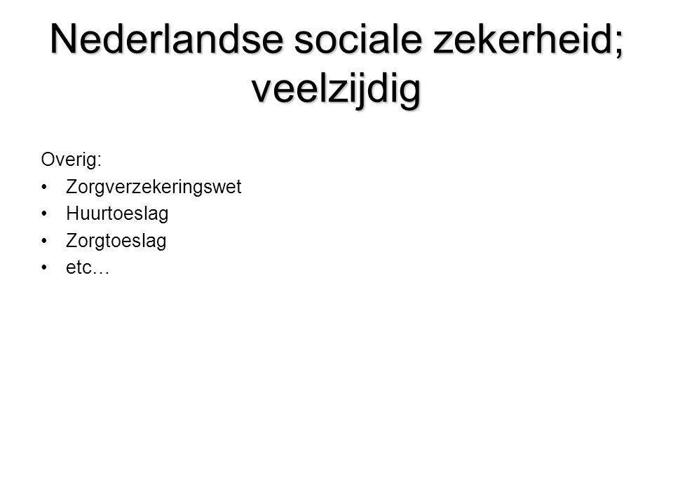 Nederlandse sociale zekerheid; veelzijdig Overig: •Zorgverzekeringswet •Huurtoeslag •Zorgtoeslag •etc…