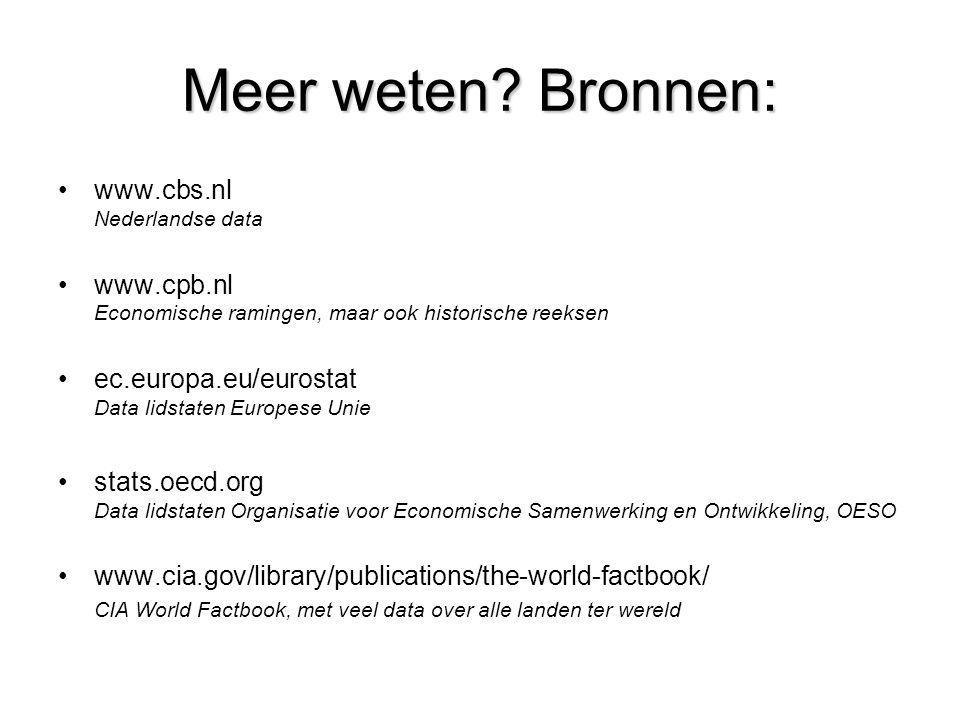Meer weten? Bronnen: •www.cbs.nl Nederlandse data •www.cpb.nl Economische ramingen, maar ook historische reeksen •ec.europa.eu/eurostat Data lidstaten