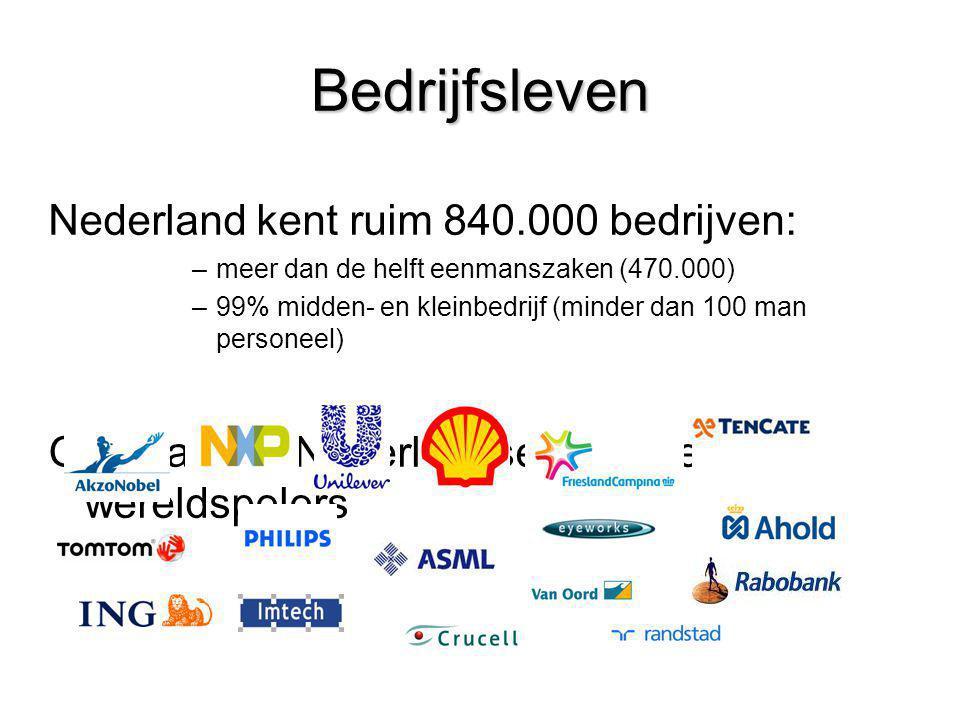 Bedrijfsleven Nederland kent ruim 840.000 bedrijven: –meer dan de helft eenmanszaken (470.000) –99% midden- en kleinbedrijf (minder dan 100 man person