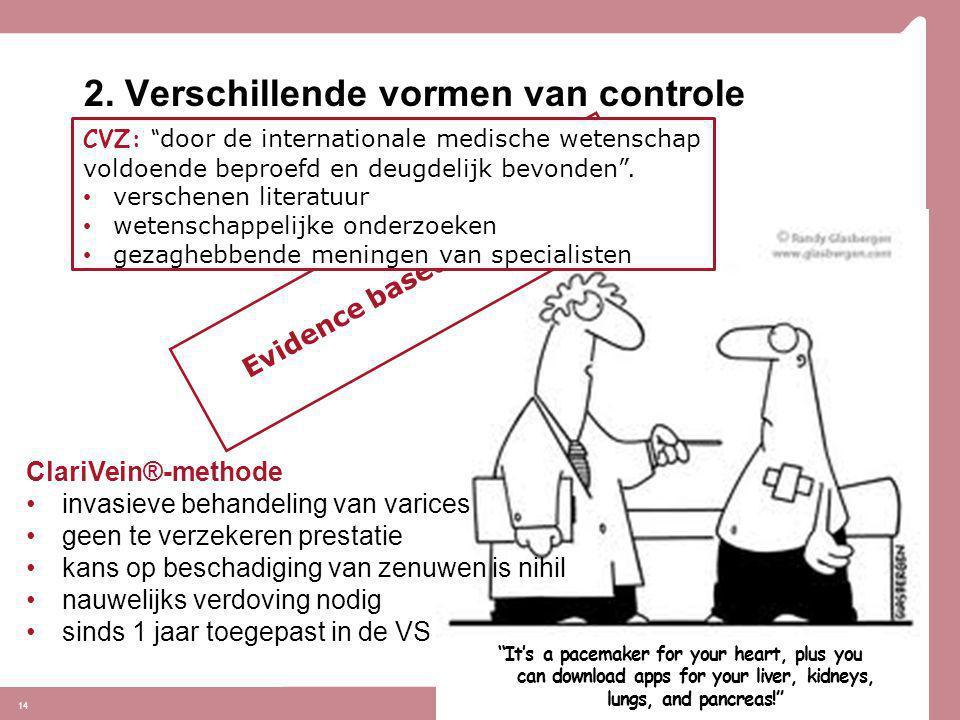2. Verschillende vormen van controle 14 Stand van de wetenschap en praktijk: ClariVein®-methode •invasieve behandeling van varices •geen te verzekeren
