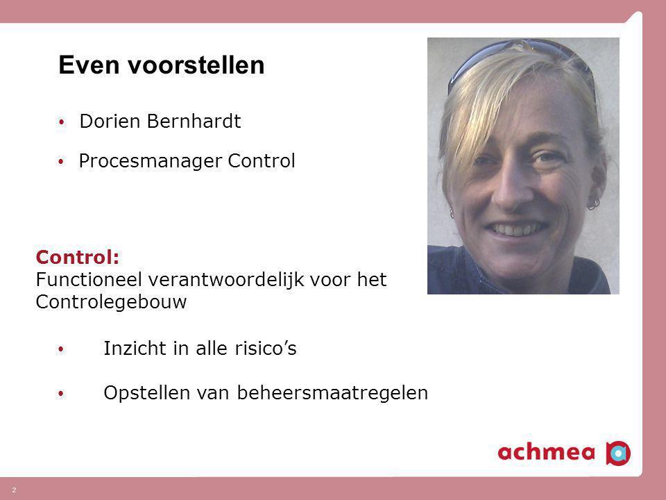 Even voorstellen • Dorien Bernhardt 2 • Procesmanager Control Control: Functioneel verantwoordelijk voor het Controlegebouw • Inzicht in alle risico's