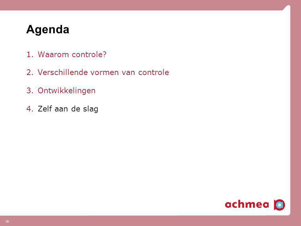 Agenda 1.Waarom controle? 2.Verschillende vormen van controle 3.Ontwikkelingen 4.Zelf aan de slag 20