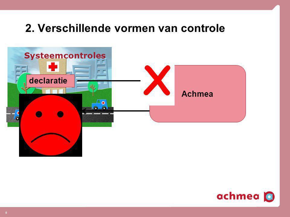 8 2. Verschillende vormen van controle Systeemcontroles declaratie Achmea € V X