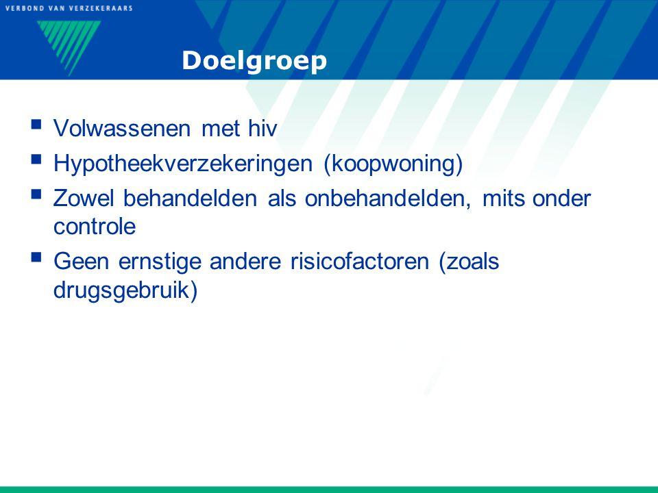 Doelgroep  Volwassenen met hiv  Hypotheekverzekeringen (koopwoning)  Zowel behandelden als onbehandelden, mits onder controle  Geen ernstige andere risicofactoren (zoals drugsgebruik)