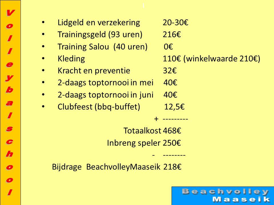 l • Lidgeld en verzekering 20-30€ • Trainingsgeld (93 uren) 216€ • Training Salou (40 uren) 0€ • Kleding 110€ (winkelwaarde 210€) • Kracht en preventi