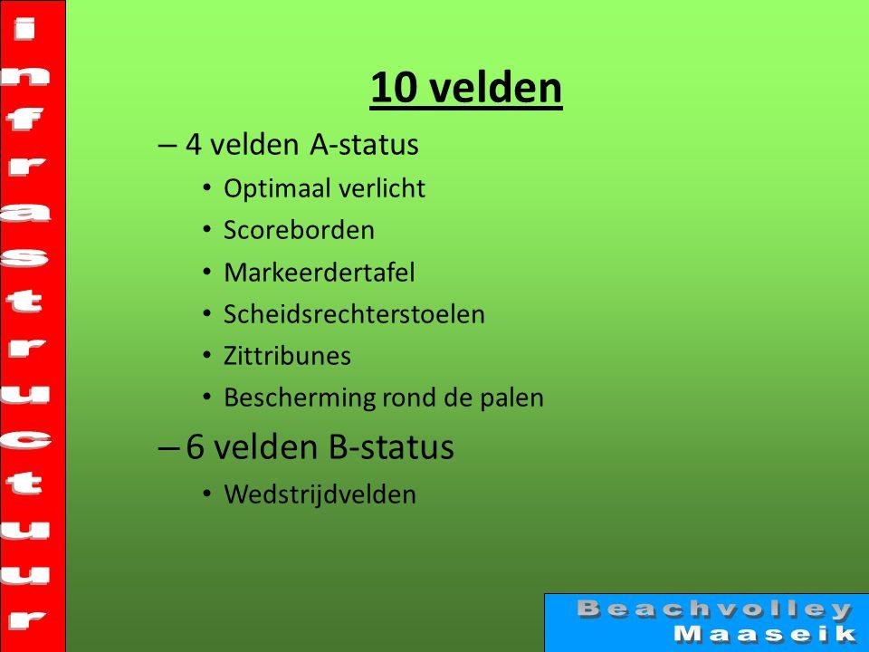 10 velden – 4 velden A-status • Optimaal verlicht • Scoreborden • Markeerdertafel • Scheidsrechterstoelen • Zittribunes • Bescherming rond de palen – 6 velden B-status • Wedstrijdvelden