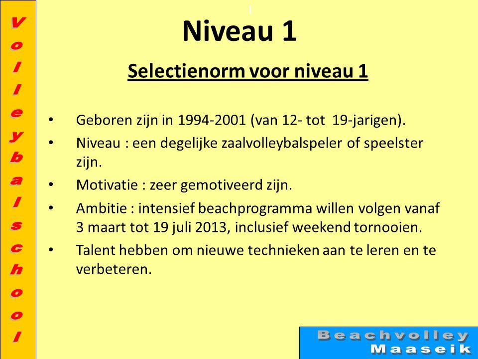 l Niveau 1 Selectienorm voor niveau 1 • Geboren zijn in 1994-2001 (van 12- tot 19-jarigen).